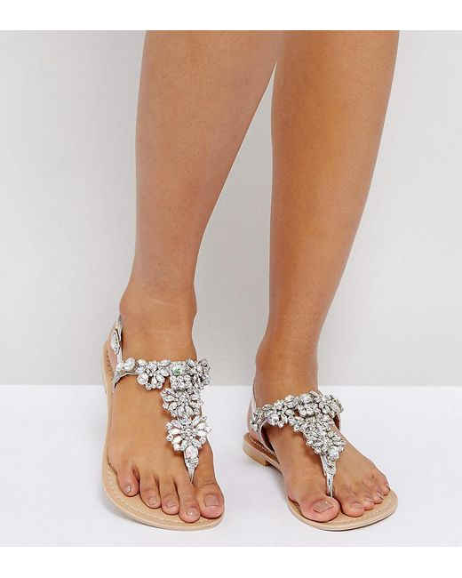 ASOS DESIGN Fixing Wide Fit Leather Embellished Flat Sandal 0E59SCtX