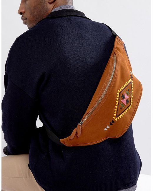 ASOS | Brown Fanny Pack With Embroidered Geo- Design In Faux Suede for Men | Lyst