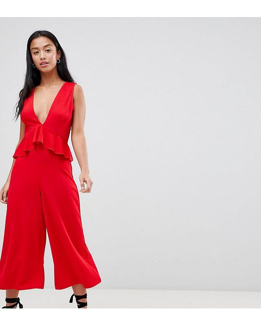 a46c2eebba9 Boohoo - Red Plunge Culotte Jumpsuit - Lyst ...