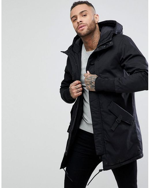 Pull&bear Quilted Parka With Hood In Black in Black for Men | Lyst : quilted parka jacket - Adamdwight.com