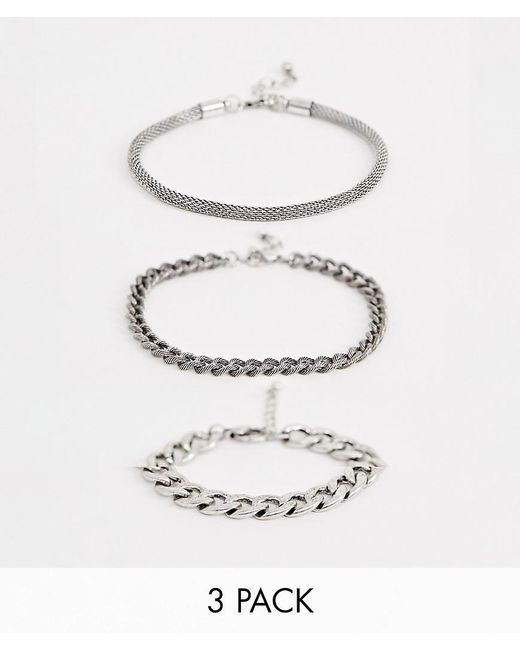 ASOS - Metallic 3 Pack Chain Bracelet With Emboss In Burnished Silver Tone for Men - Lyst