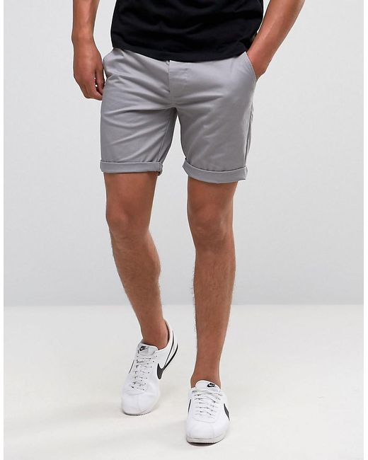 ASOS - Gray Slim Chino Shorts In Warm Grey for Men - Lyst ...