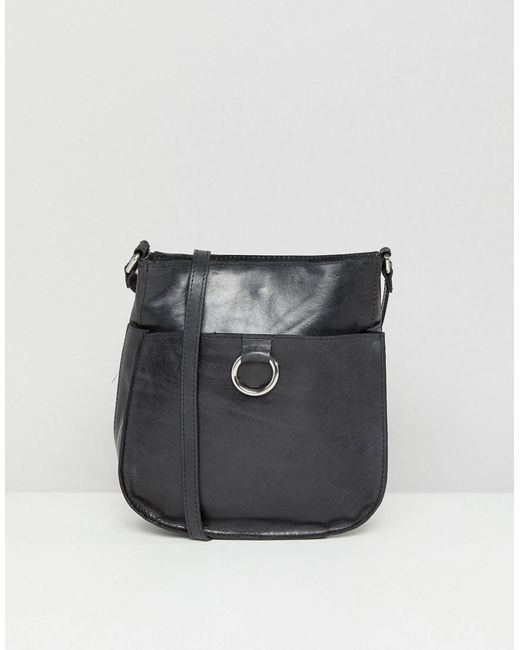 Leather Vintage Cross Body Bag With Ring Detail - Black Asos 6t3TeY