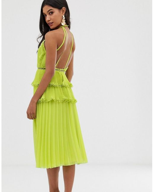57b007395299 ... ASOS - Green Midi Dress With Cross Front And Lace Trim Tiered Skirt -  Lyst
