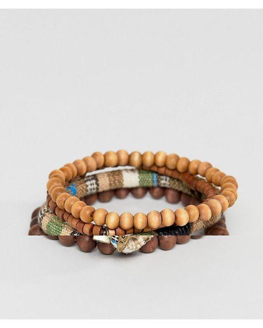 Icon Brand - Brown Beaded Bracelet In 3 Pack for Men - Lyst