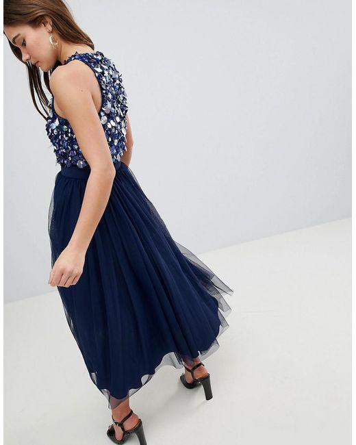 0a4ef2aa73 ... ASOS - Blue Asos Embellished Cluster Crop Top Tulle Midi Dress - Lyst