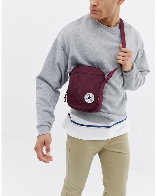 86d61c4ab6a5 Converse - Red Chuck Taylor Patch Crossbody Bag In Burgundy for Men - Lyst  ...