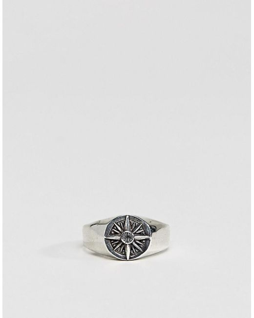 Asos DESIGN Signet Ring With Compass In Silver - Silver 403gWO3