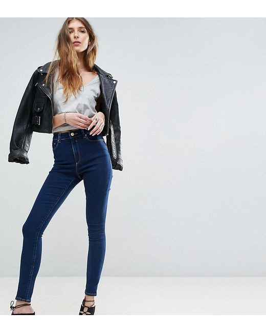ASOS - Tall Ridley High Waist Skinny Jeans In Deep Blue Wash - Lyst