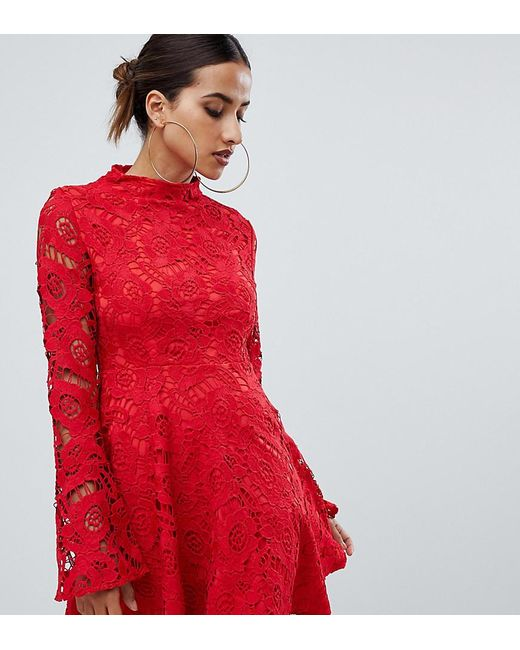b1e1d327dba PRETTYLITTLETHING - Lace Fluted Sleeve Skater Dress In Red - Lyst  PRETTYLITTLETHING ...