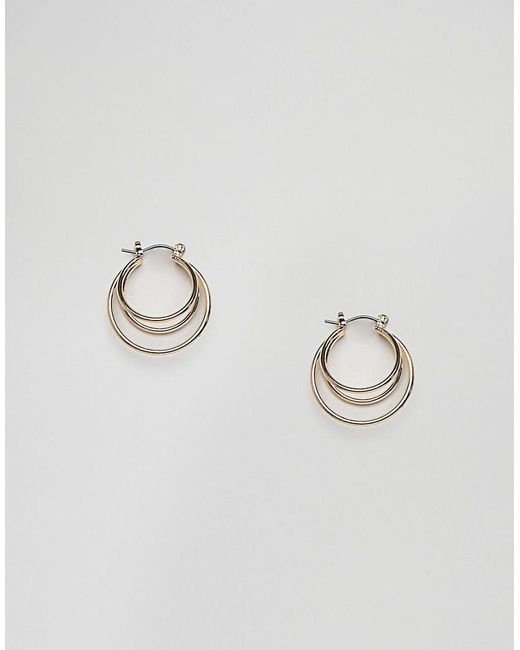 Nylon - Metallic Gold Double Hoop Earrings - Lyst