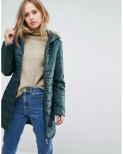 lyst vero moda padded parka with faux fur hood in green. Black Bedroom Furniture Sets. Home Design Ideas