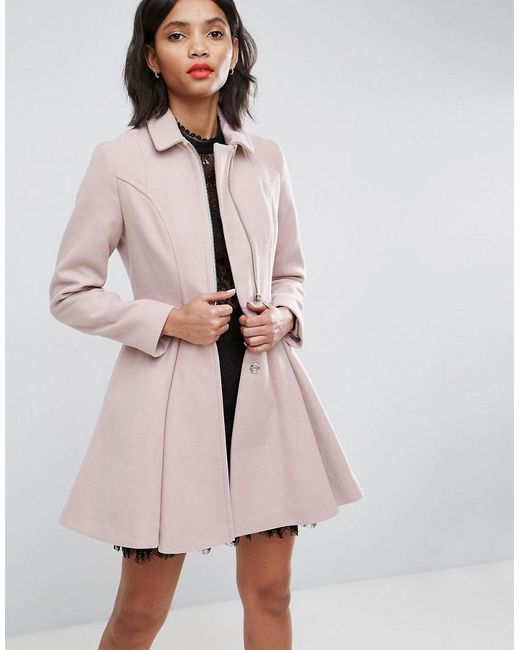 ASOS - Pink Swing Coat With Full Skirt And Zip Front - Lyst