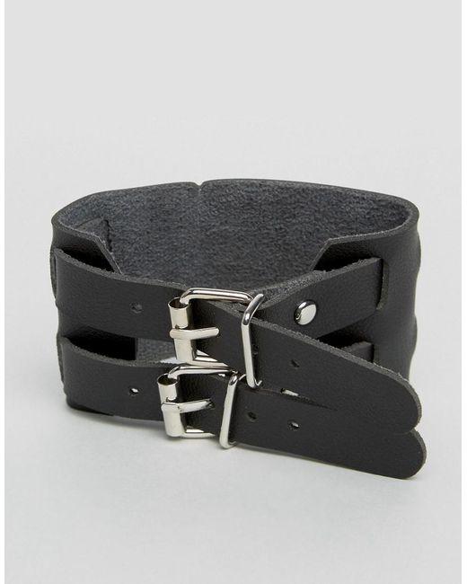 Monki   Black Double Buckle Bracelet   Lyst