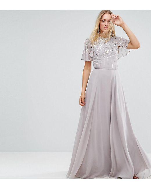 ASOS | Gray Embellished Bodice Flutter Sleeve Maxi Dress | Lyst