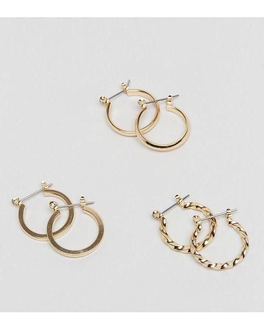 ASOS | Metallic Pack Of 3 20mm Hoop Earrings | Lyst