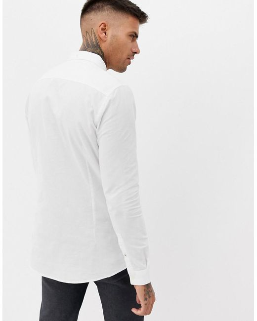 ed5fee5deb River Island Slim Fit Oxford Shirt In White in White for Men - Lyst