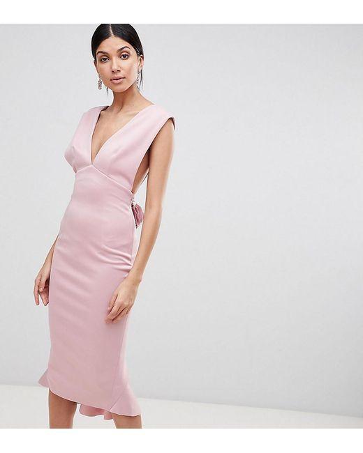 f4e858d7e7 ... sale uk c6796 28989 ASOS - Pink Deep Plunge Corsage Back Pephem Midi  Bodycon Dress ...
