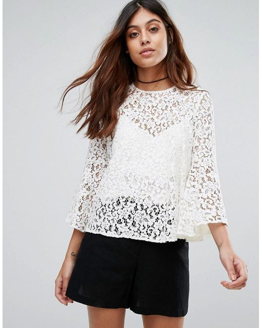 lyst mango lace top with voluminous sleeves in white. Black Bedroom Furniture Sets. Home Design Ideas
