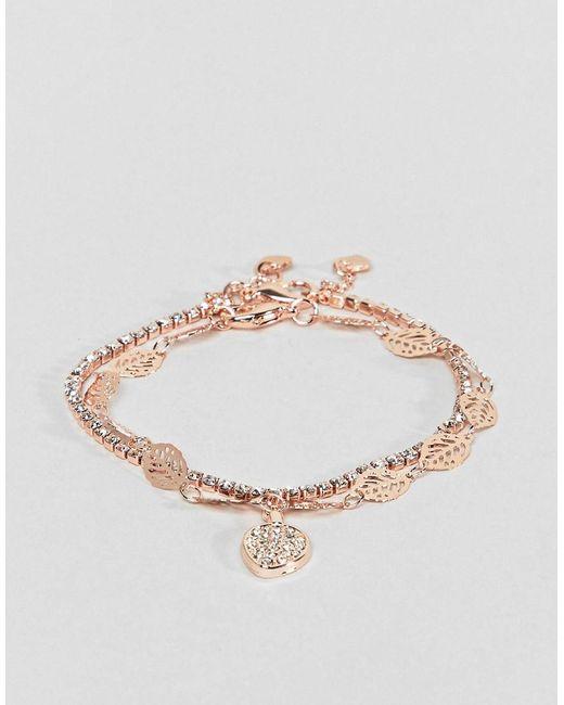 ALDO - Metallic Gold Multi Layer Feather Detail Bracelet - Lyst