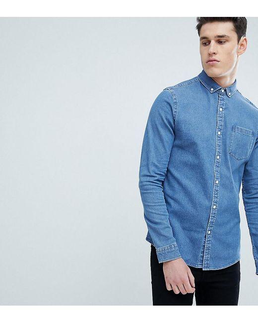906f47790c ASOS - Blue Tall Stretch Slim Denim Shirt In Mid Wash for Men - Lyst ...