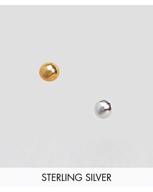 ASOS - Metallic Design Pack Of 2 Gold Plated And Sterling Silver Fine Nose Studs - Lyst