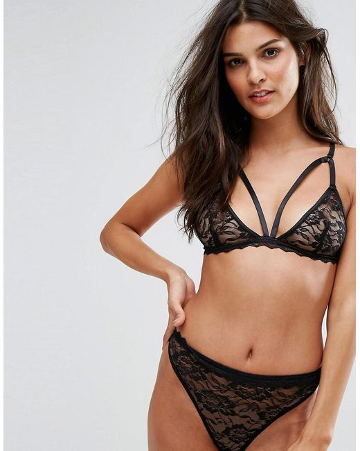 Prettylittlething Lace Triangle Bra in Black
