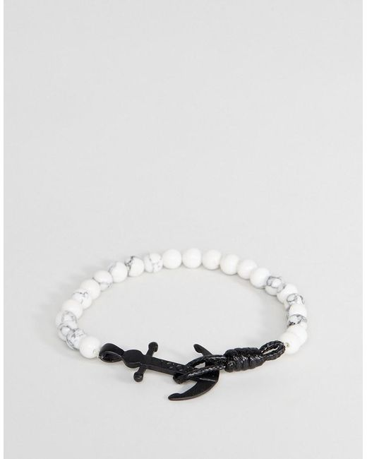 Icon Brand | Anchor Marble Beaded Bracelet In White | Lyst