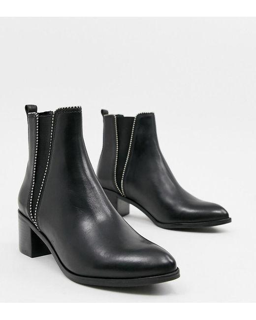 c1f9790e27c86 Dune - Black Portobellow Leather Mid Heel Boot - Lyst ...