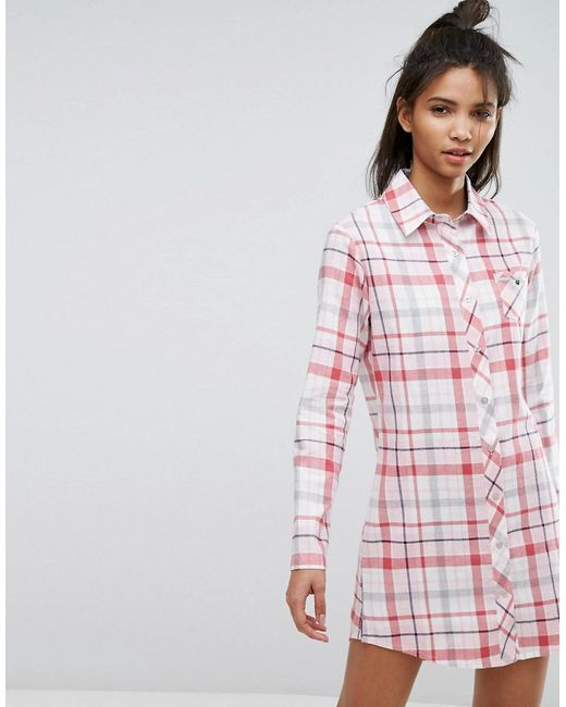 Esprit - Red Check Night Shirt - Lyst