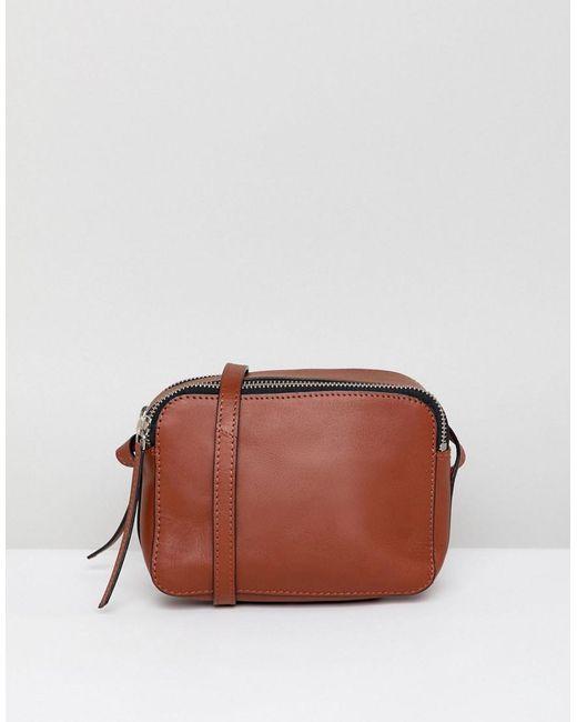 ASOS - Brown Leather Camera Cross Body Bag - Lyst