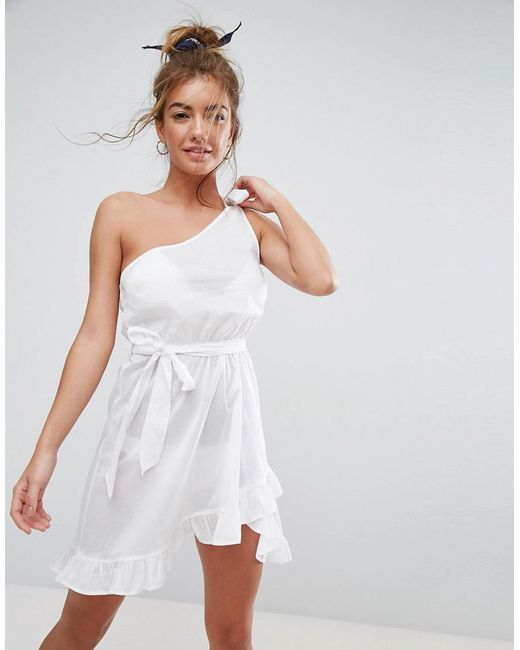 ASOS - White Beach One Shoulder Sundress With Frill Hem - Lyst
