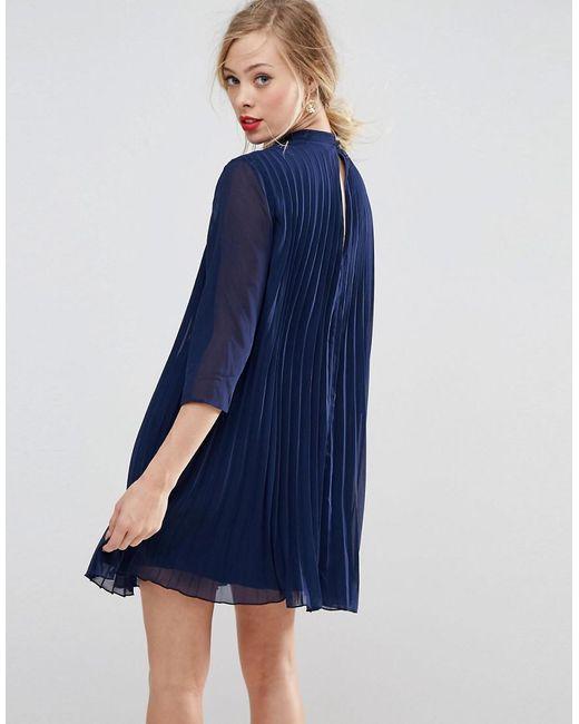 0460107efa0 ... ASOS - Blue Asos Pleated Trapeze Mini Dress - Lyst