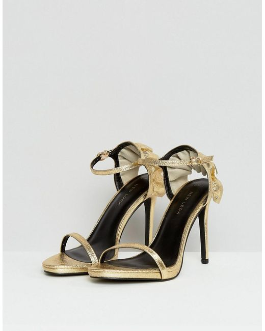 Frill Back Two Part Heeled Sandal - Gold New Look Rkayh