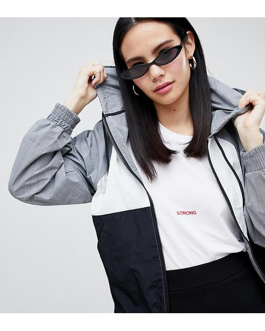 Monki - Hooded Check Jacket In Gray And Black - Lyst