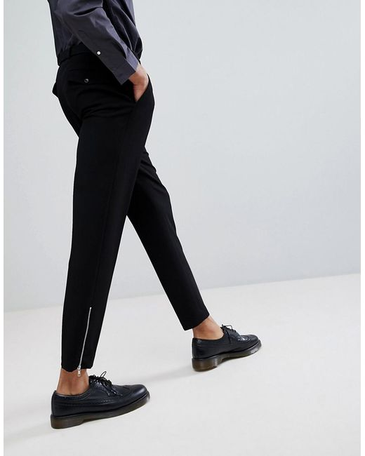 TALL Skinny Crop Smart Trousers In Black Waffle Texture With Silver Zips - Black Asos sFBsqc1hY7