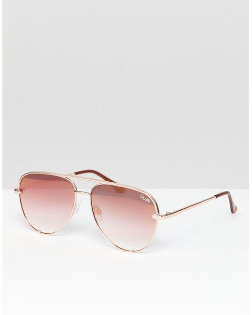 Quay - Pink X Desi High Key Mini Aviator Sunglasses for Men - Lyst