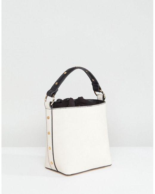 Studded Strap Bucket Cross Body Bag - Off white Faith yWN4cFAr