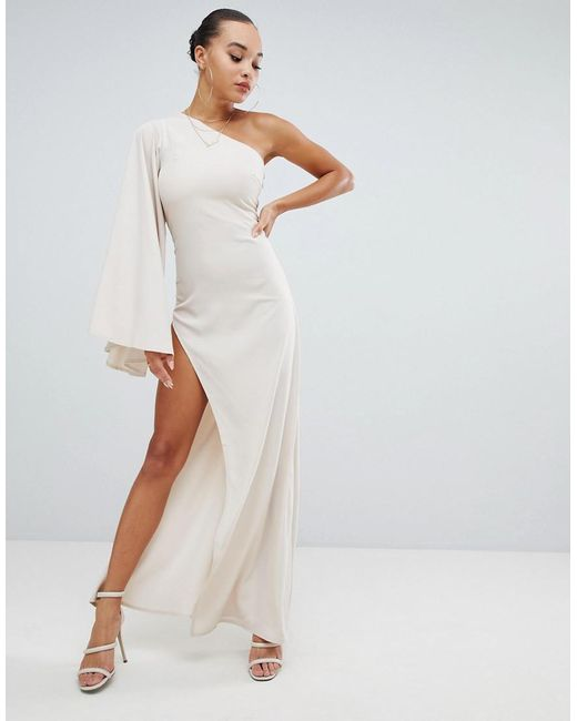 77d9d24a67256 Missguided - Pink Peace And Love One Shoulder Maxi Dress - Lyst ...