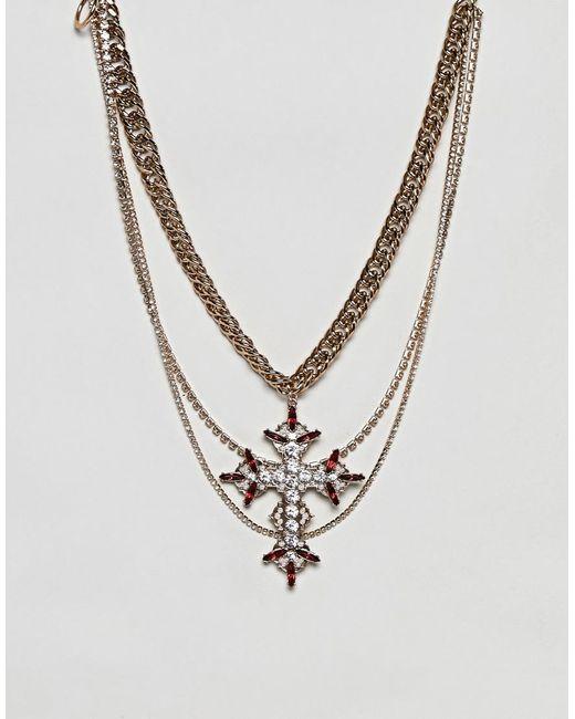 ASOS - Metallic Statement Multirow Necklace With Vintage Cross Pendant - Lyst