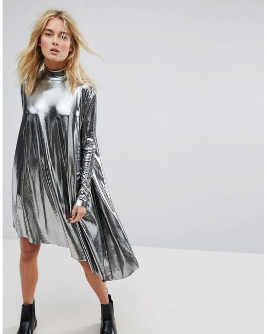 Weekday - Black Metallic Assymetrical Dress - Lyst