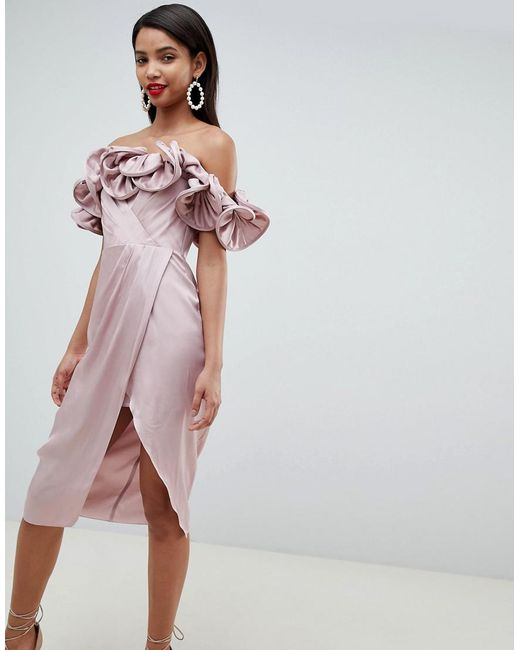 ASOS - Pink Occasion Satin Pencil Dress With Extreme Ruffle Bandeau - Lyst