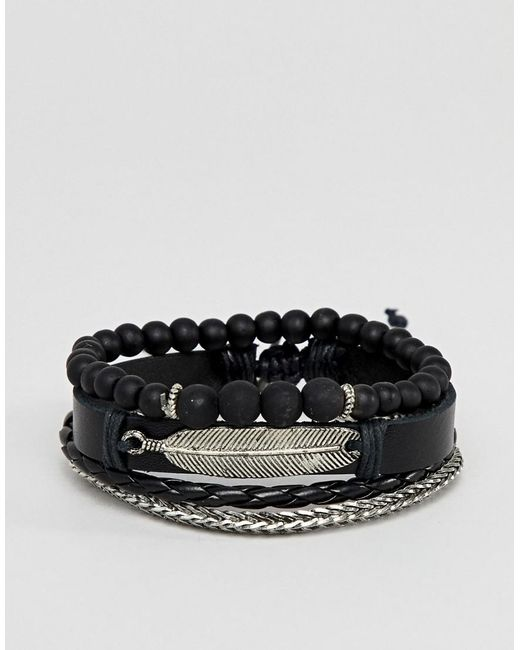 ASOS - Design Leather And Chain Bracelet Pack In Black With Feather for Men - Lyst