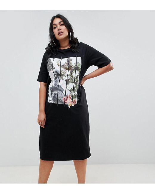 29cec6292c1 ASOS - Black Asos Design Curve Photographic Midi T-shirt Dress - Lyst ...