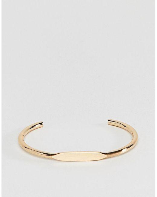 ASOS - Metallic Sleek Flat Front Cuff Bracelet - Lyst