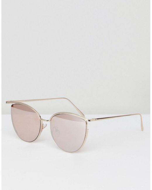 ASOS - Metallic Cat Eye Square With Highbrow And Cut Away Detail - Lyst