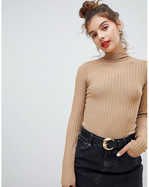 Bershka - Natural Vertical Ribbed Funnel Neck Sweater - Lyst