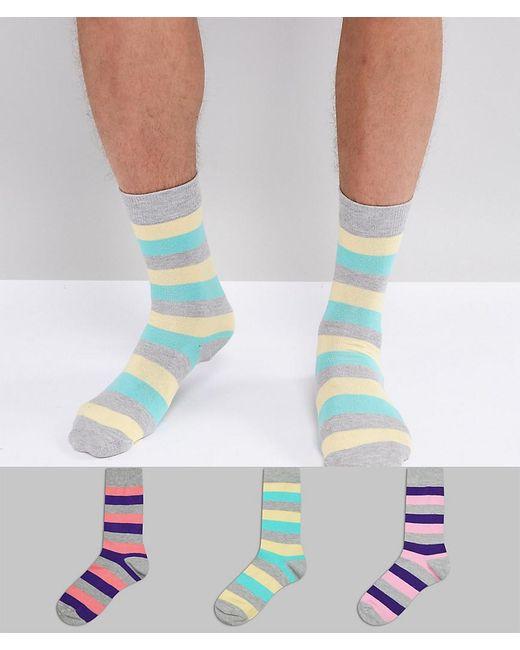 ASOS DESIGN - Multicolor Socks In Retro Stripes 3 Pack for Men - Lyst