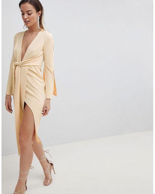 ASOS - Natural Design Kimono Button Plunge Midi Dress - Lyst