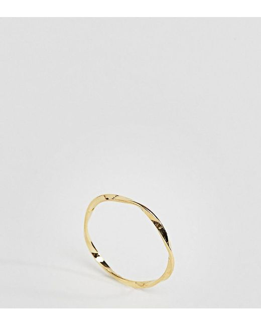 ASOS | Metallic Gold Plated Sterling Silver Fine Twist Ring | Lyst